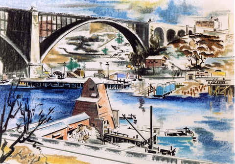 Preston Dickinson Harlem River - Hand Painted Oil Painting
