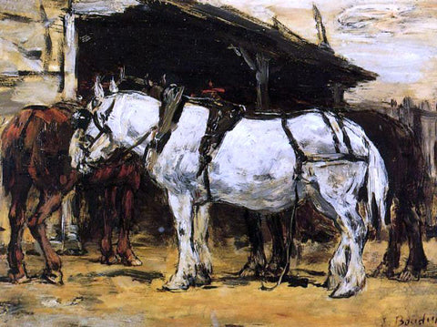 Eugene-Louis Boudin Harnessed Horses - Hand Painted Oil Painting
