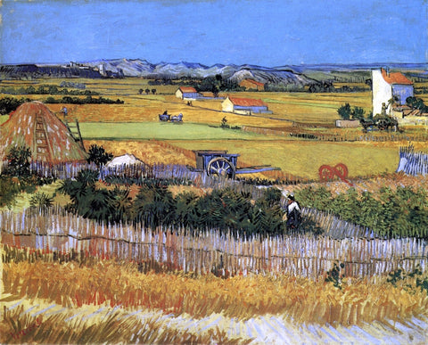 Vincent Van Gogh A Harvest Landscape with Blue Cart - Hand Painted Oil Painting