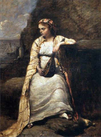 Jean-Baptiste-Camille Corot Haydee, Young Woman in Greek Dress - Hand Painted Oil Painting