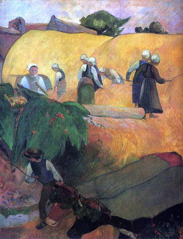 Paul Gauguin Haymaking in Brittany - Hand Painted Oil Painting