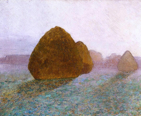 John Leslie Breck Haystack at Giverny, Normandy: Sun Dispelling Morning Mist - Hand Painted Oil Painting