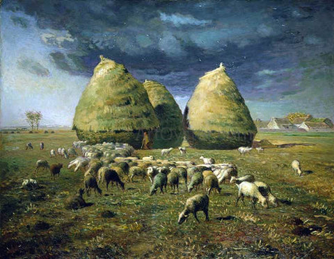 Jean-Francois Millet Haystacks: Autumn - Hand Painted Oil Painting
