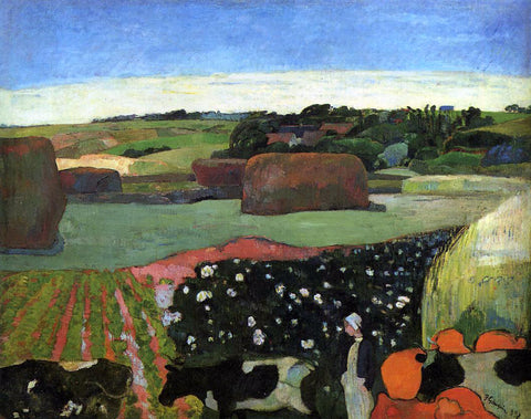 Paul Gauguin Haystacks in Britanny (also known as The Potato Field) - Hand Painted Oil Painting