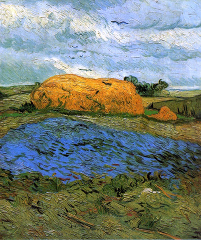 Vincent Van Gogh Haystacks Under a Rainy Sky - Hand Painted Oil Painting