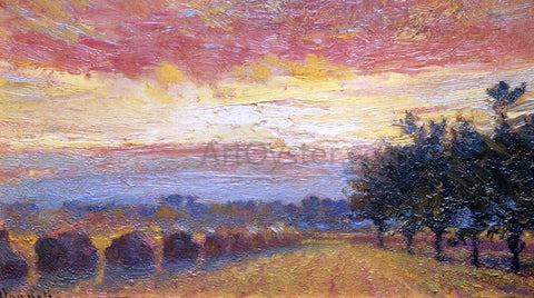 Robert Vonnoh Haystacks under a Rainy Sky - Hand Painted Oil Painting