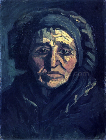 Vincent Van Gogh Head of a Peasant Woman with a Greenish Lace Cap - Hand Painted Oil Painting