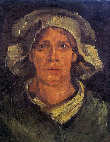 Vincent Van Gogh Head of a Peasant Woman with White Cap - Hand Painted Oil Painting