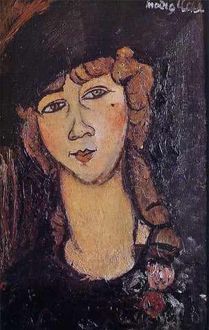 Amedeo Modigliani Head of a Woman in a Hat (also known as Lolotte) - Hand Painted Oil Painting