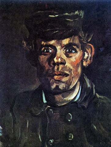 Vincent Van Gogh Head of a Young Peasant in a Peaked Cap - Hand Painted Oil Painting
