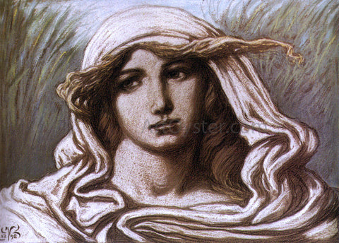 Elihu Vedder Head of a Young Woman - Hand Painted Oil Painting