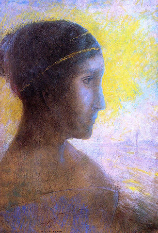 Odilon Redon Head of a Young Woman in Profile - Hand Painted Oil Painting