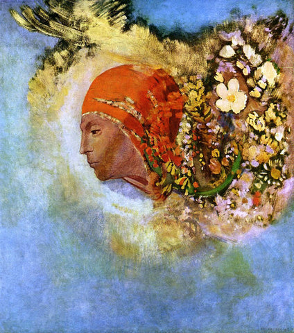 Odilon Redon Head with Flowers - Hand Painted Oil Painting