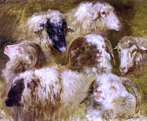 Rosa Bonheur Heads of Ewes and Rams - Hand Painted Oil Painting