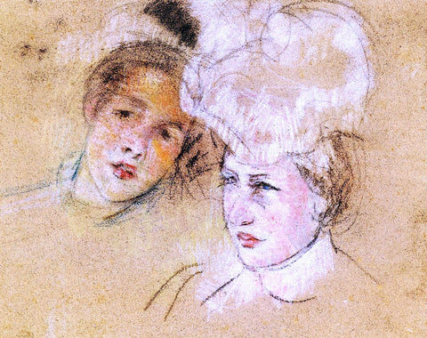 Mary Cassatt Heads of Leontine and a Friend - Hand Painted Oil Painting