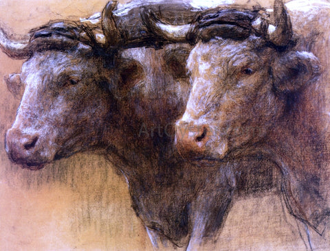 Leon Augustin L'hermitte) Heads of Two Oxen, Study for 'La Famille' - Hand Painted Oil Painting