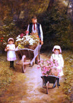 Mary Hayllar A Helping Gardener - Hand Painted Oil Painting