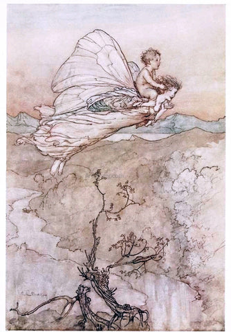 Arthur Rackham ...her fairy sent to bear him to my bower in fairy land (also known as her fairy sent) - Hand Painted Oil Painting