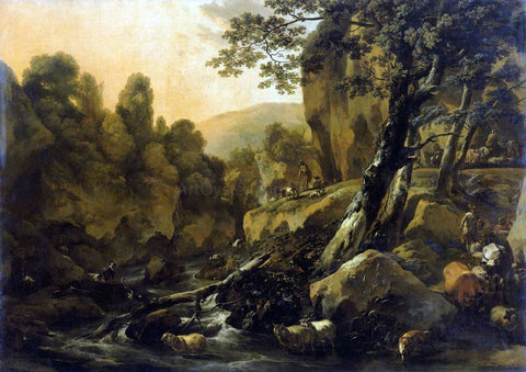 Nicolaes Berchem Herdsmen and Herds at a Waterfall - Hand Painted Oil Painting