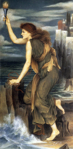 Evelyn De Morgan Hero Holding the Beacon for Leander - Hand Painted Oil Painting