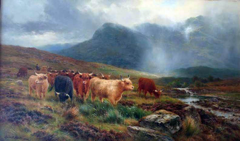 Louis Bosworth Hurt Highland Cattle Showers that Veil the Distant Hills - Hand Painted Oil Painting