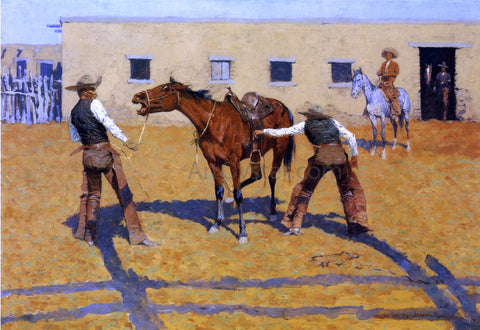 Frederic Remington His First Lesson - Hand Painted Oil Painting