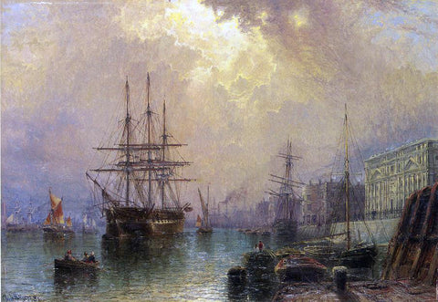 "Claude Stanfield Moore H.M.S. ""Warspale"" off Greenwich - Hand Painted Oil Painting"