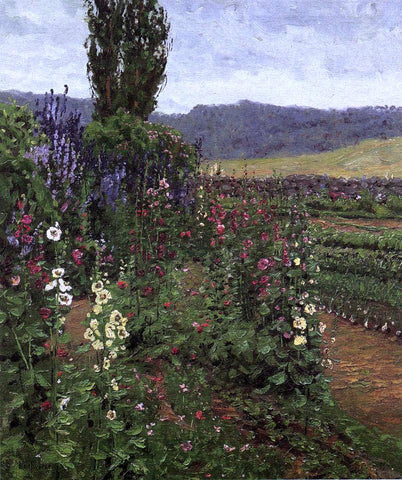 Ben Foster Hollyhock Path - Hand Painted Oil Painting