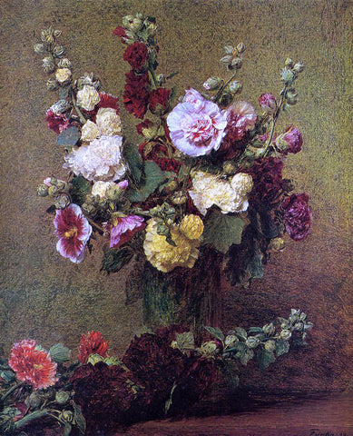 Henri Fantin-Latour Hollyhocks - Hand Painted Oil Painting