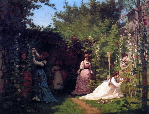 Eastman Johnson Hollyhocks - Hand Painted Oil Painting