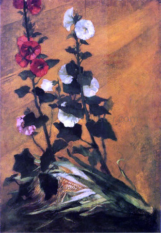 John La Farge Hollyhocks and Corn - Hand Painted Oil Painting