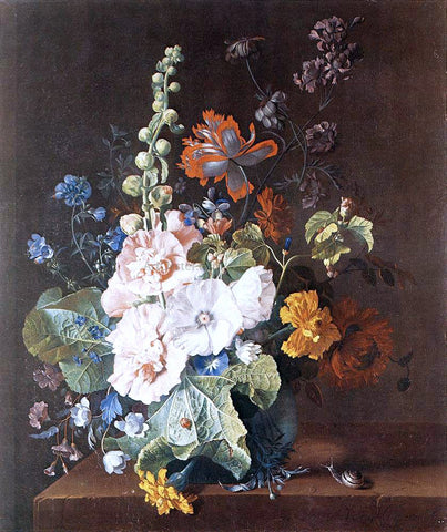 Jan Van Huysum Hollyhocks and Other Flowers in a Vase - Hand Painted Oil Painting