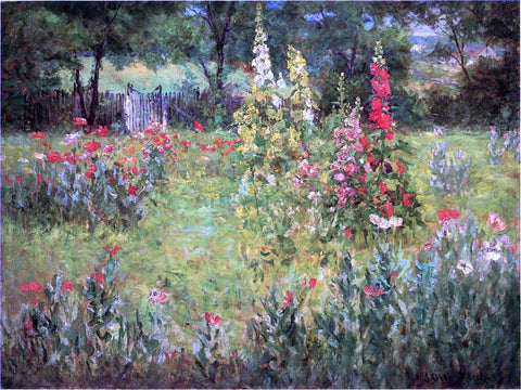 John Ottis Adams Hollyhocks and Poppies - The Hermitage - Hand Painted Oil Painting