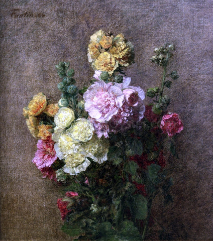 Henri Fantin-Latour Hollyhocks without Vase - Hand Painted Oil Painting