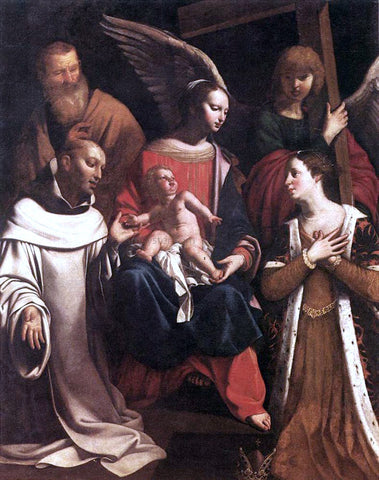 Guy Francois Holy Family with St Bruno and St Elisabeth - Hand Painted Oil Painting