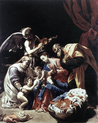 Orazio Borgianni Holy Family with St Elizabeth, the Young St John the Baptist and an Angel - Hand Painted Oil Painting