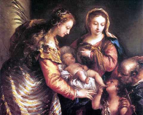 Giovanni Antonio Guardi Holy Family with St John the Baptist and St Catherine - Hand Painted Oil Painting