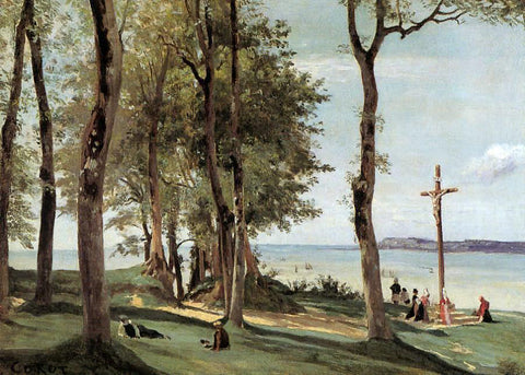 Jean-Baptiste-Camille Corot Honfleur - Calvary on the Cote de Grace - Hand Painted Oil Painting