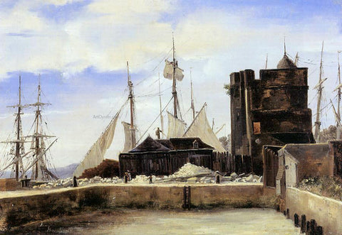Jean-Baptiste-Camille Corot Honfleur - The Old Wharf - Hand Painted Oil Painting