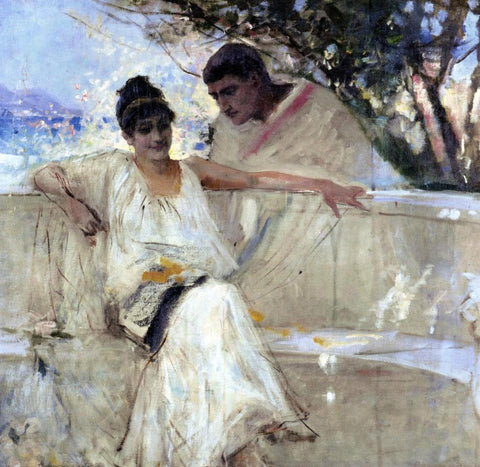 Albert Edelfelt Horace and Lydia (study) - Hand Painted Oil Painting
