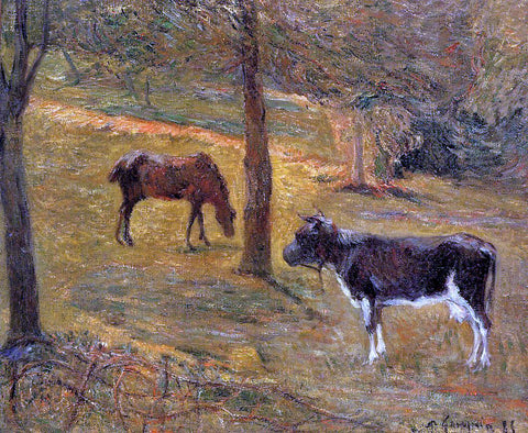 Paul Gauguin Horse and Cow in a Field - Hand Painted Oil Painting