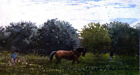 Winslow Homer Horse and Plowman, Houghton Farm - Hand Painted Oil Painting