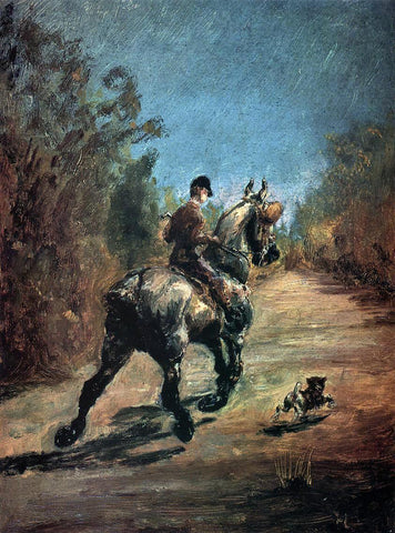 Henri De Toulouse-Lautrec Horse and Rider with a Little Dog - Hand Painted Oil Painting