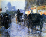 Frederick Childe Hassam Horse Drawn Cabs at Evening, New York - Hand Painted Oil Painting