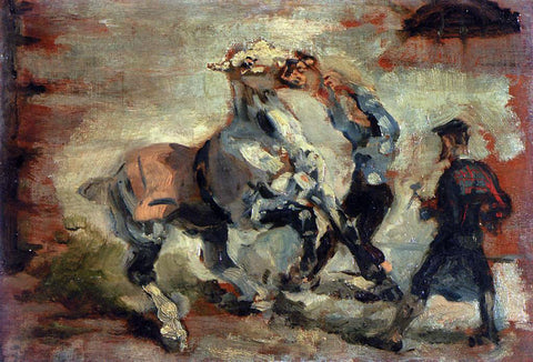 Henri De Toulouse-Lautrec Horse Fighting His Groom - Hand Painted Oil Painting