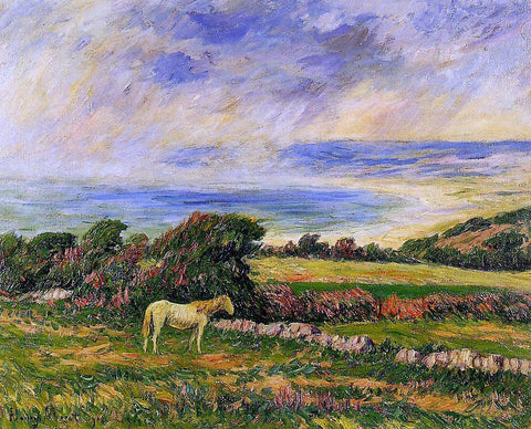 Henri Moret Horse in a Meadow - Hand Painted Oil Painting