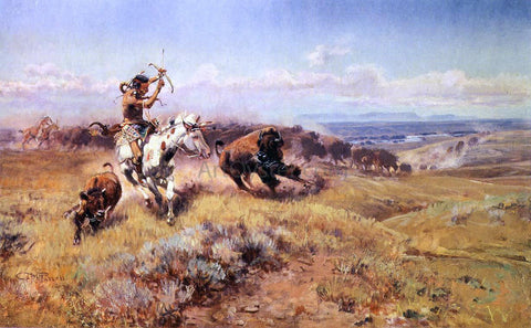 Charles Marion Russell Horse of the Hunters (also known as Fresh Meat) - Hand Painted Oil Painting