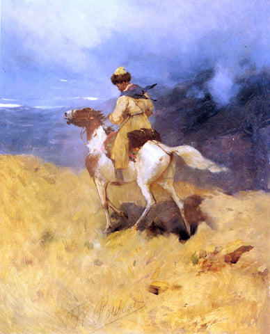 Franz Roubaud A Horseman in a Mountainous Landscape - Hand Painted Oil Painting