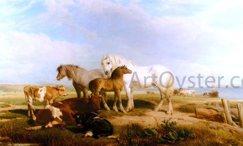 Henry Willis RWS Horses And Cattle On The Shore - Hand Painted Oil Painting