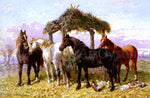 Sr. John Frederick Herring Horses and Ducks by a River - Hand Painted Oil Painting